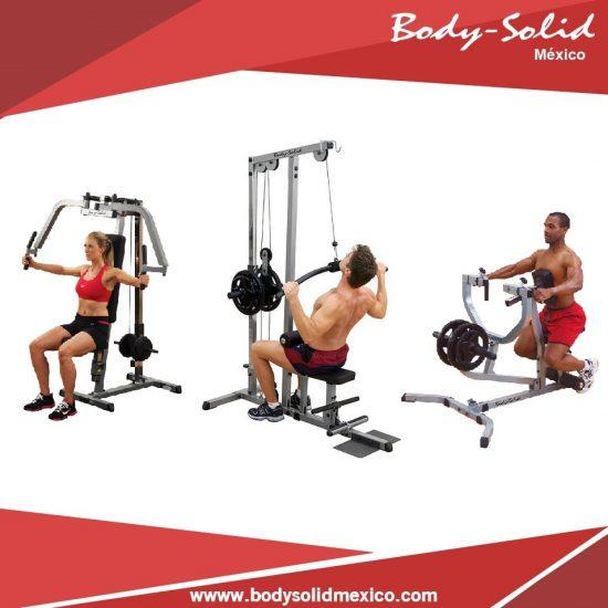 paquete gimnasio pec dec para pecho, remo para espalda y lat bar polea alta body solid